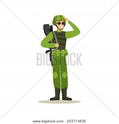 Infantry troops soldier character in camouflage combat uniform doing a hand salute vector Illustration on a white background