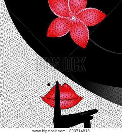 white background and abcstract outlines womans face with black hat red rose and dark veil