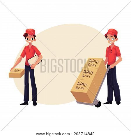 Courier, delivery service worker holding package, pushing dolly, hand cart with boxes, cartoon vector illustration with space for text. Full length portrait of young delivery service man