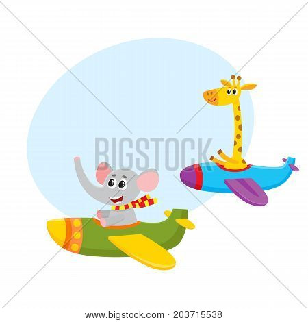 Cute funny animal pilot characters flying on airplane - giraffe and elephant, cartoon vector illustration with space for text. Little baby giraffe and elephant characters flying on airplane