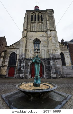 MAASTRICHT NETHERLANDS - JANUARY 09 2015: The Gothic church of Saint Matthias. Maastricht is the oldest city of the Netherlands and the capital city of the province of Limburg.