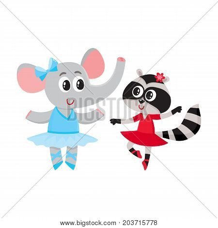 Cute little elephant and raccoon, puppy and kitten characters dancing ballet together, cartoon vector illustration isolated on white background. Little raccoon and elephant ballet dancers, ballerinas