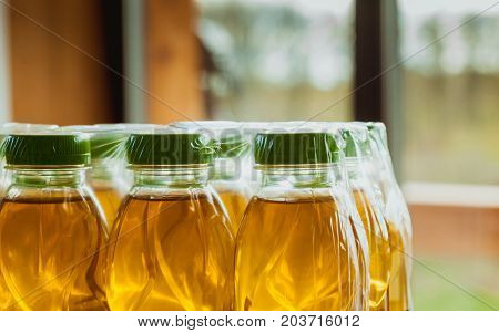Food drink concept. Apple juice carry pack with green cap
