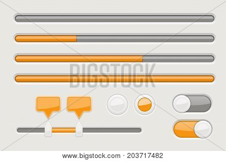 Web elements - sliders, toggle switch buttons. Orange and gray signs. Vector 3d illustration