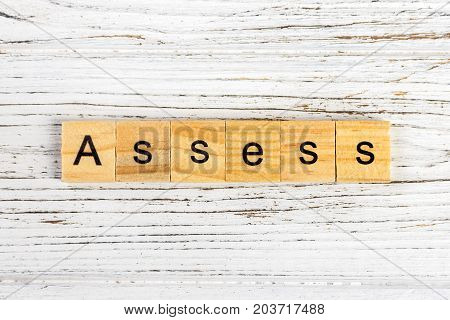ASSESS word made with wooden blocks concept