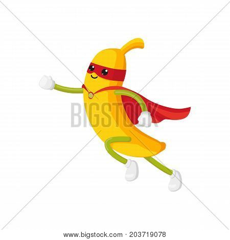 vector flat cartoon banana character in red cape, mask dashing. Isolated illustration on a white background. Funny stylized humanized fruit and vegetable super hero protecting people's health concept.