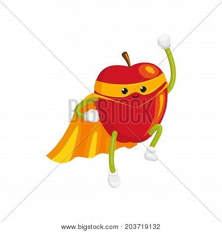 vector flat cartoon apple character in orange cape, mask flying like superman. Isolated illustration on a white background Stylized humanized fruit and vegetable super hero protecting people's health