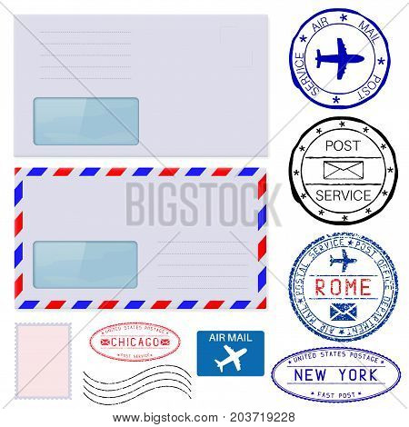 Envelopes with postmarks. Vector illustration isolated on white background