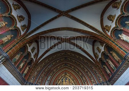 MAASTRICHT NETHERLANDS - JANUARY 09 2015: Detail of a interior of Basilica of St. Servatius. The Basilica of St. Servatius is a oldest Roman catholic church the Netherlands.