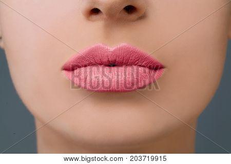 Pink Lips Makeup. Rose Lipstick and Clear Skin Closeup