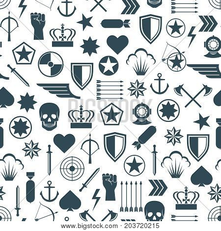 Military seamless pattern with flat army elements. Military background, vector illustration