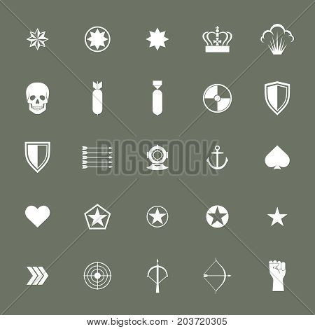Small military army war icons collections. Weapon sign, rocket armed ammunition. Vector illustration