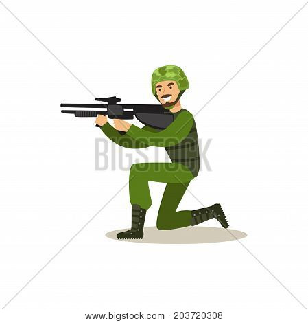 Infantry troops soldier character in camouflage combat uniform standing on one knee aiming with automatic assault rifle vector Illustration on a white background