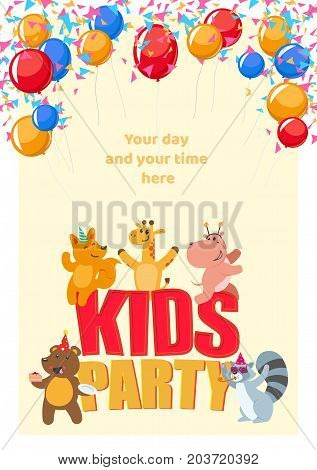 Kid birthday party poster, banner, card with cute animal characters having fun, flat cartoon vector illustration on white background. Birthday party poster with cute animal characters having fun