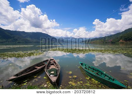 Boats At The Phewa Lake, Pohara, Nepal