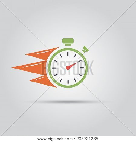 stopwatch with fiery stripes symbolizing speed isolated vector flat colored icon