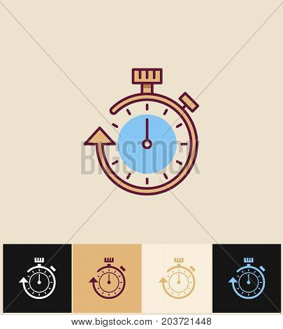 Clock icon. Flat vector illustration on different colored backgrounds. Stopwatch line icon. Timer watch design