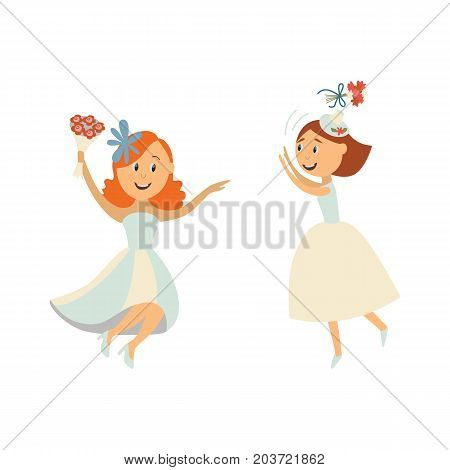 vector flat cartoon bride wearing white dress, veil throwing her bouquet in air, another one dances smiling. Illustration isolated on a white background. Wedding, marriage concept character design