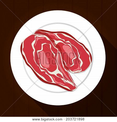 Meat on a white plate with a long shadow on the wooden background. Vector illustration