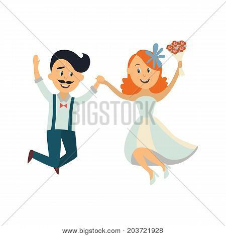 vector groom and bride newlywed couple dancing happily jumping holding each other's hands. cartoon illustration isolated on a white background. Wedding concept character design