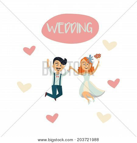 vector groom and bride newlywed couple dancing happily jumping holding each other's hands at background of hearts. cartoon illustration isolated on a white background. Wedding concept character design