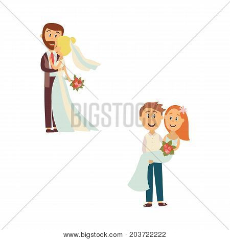 vector flat cartoon groom and bride newlywed couple set. People holding and hugging each other with love and care. Illustration isolated on a white background. Wedding concept character design