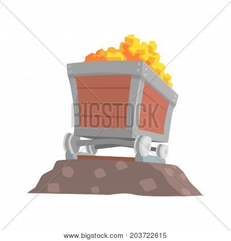 Retro wooden wagon with gold ore, mining industry concept cartoon vector Illustration on a white background