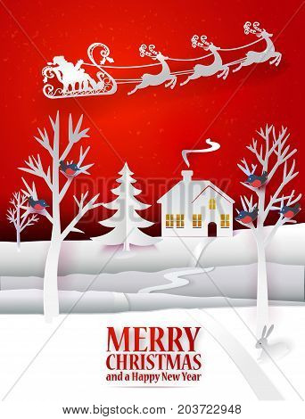 Marry Christmas paper poster with hand cut paper landscape Santa Claus deers on the sky. Happy New Year paper art card with house, fir tree, birds, rabbit. Vector illustration. Holidays greetings
