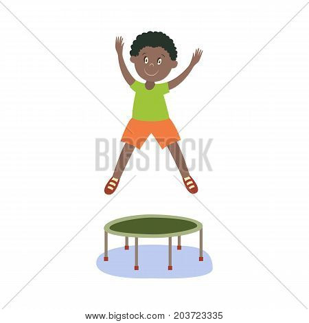 vector flat cartoon black boy kid in orange shorts, green t-shirt jumping on trampoline happily smiling. Isolated illustration on a white background. Kids party concept