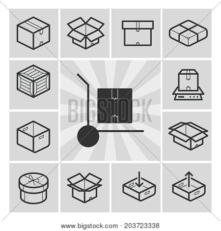 Package icons vector set with boxes, crates, containers. Linear icons, vector illustration