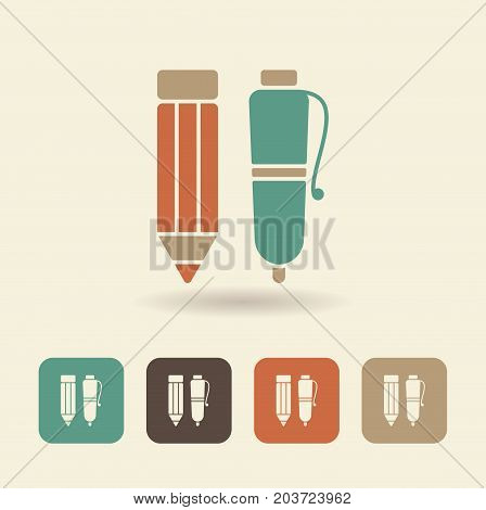 Flat icon pen and pencil. Vector illustration