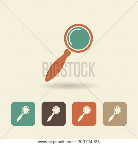 Flat icon of a magnifying glass. Vector illustration