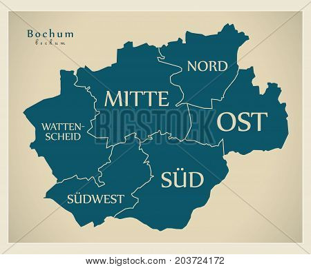 Modern City Map - Bochum City Of Germany With Boroughs And Titles De
