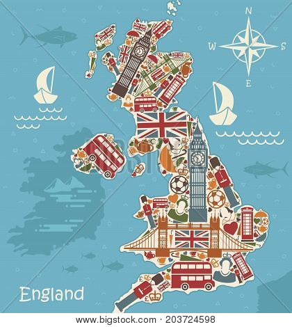 A stylized map of the UK with traditional English symbols