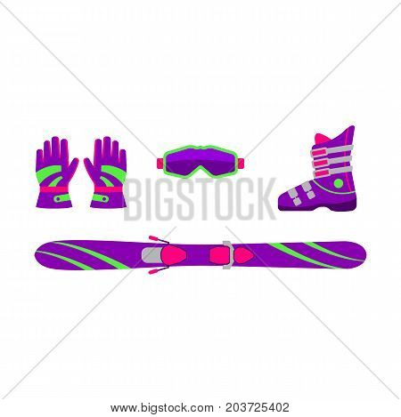 Set of skiing equipment - ski, boot, goggles, gloves, flat style vector illustration isolated on white background. Flat vector skiing gear - ski, boot, goggles, gloves, colorful collection