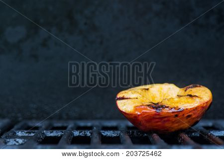 Single Grilled Peach On Right With Copy Space