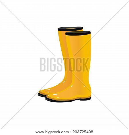 Pair of yellow waterproof rain boots, wellingtons, typical autumn footwear, cartoon vector illustration isolated on white background. Cartoon style shiny yellow autumn rubber, rain boots, gumboots