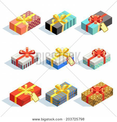 Set of colored 3D giftboxes with ribbons isolated. Celebration giftbox present. Vector illustration