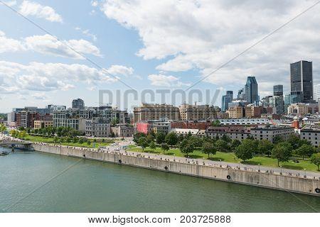 City center from Alexandra Quay Montreal Quebec Canada