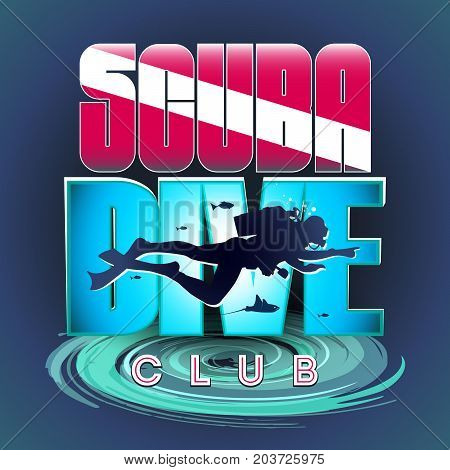 Vector stylized logo or sign of scuba divers. The image of a floating scuba diver on the background of a bright inscription: Scuba Diver CLUB. At the bottom of the whirlpool stylization.