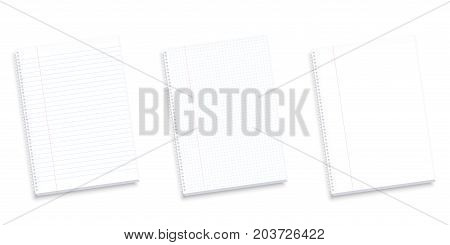 Set of notebooks - lined, squared and blank pages with red margin for corrections. Isolated realistic vector illustration on white background.