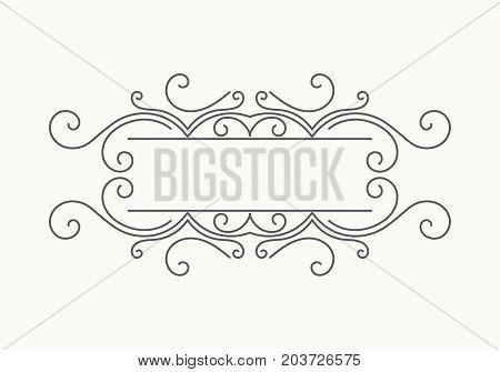 Hand drawn decorative border in retro style. Elegant vintage calligraphic vignette or divider for greeting card, banner, retro party, wedding invitation, menu, postcard. Vector illustration.