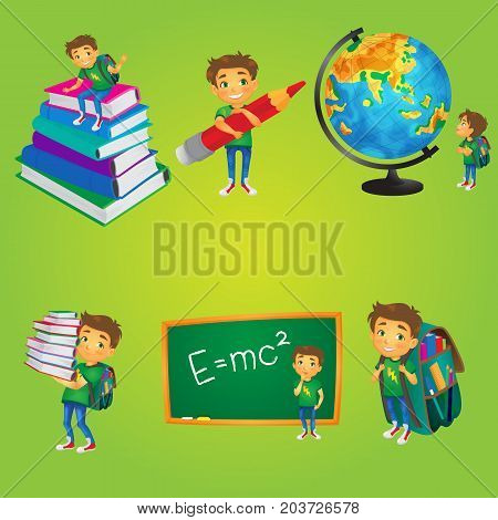Kid, boy, schoolboy at school, cartoon comic style vector illustration isolated on white background. Cute little boy, kid - write on blackboard, read, carry books, go to school, study a globe