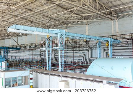 gantry crane in the engine room of the Kursk nuclear power plant