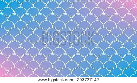 Mermaid scale on trendy gradient background. Horizontal backdrop with mermaid scale ornament. Bright color transitions. Fish tail banner and invitation. Underwater sea pattern. Blue, rose, pink colors