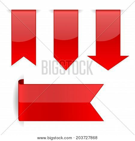 Red arrow stickers with transparent shadow. Vector 3d illustration isolated on white background