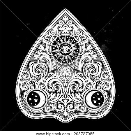 Hand drawn vintage magic Ouija board oracle. Antique boho chic art. Halloween and tattoo design, wicca, witchcraft, spirituality. For print, posters, t-shirts, textiles. stickers. Vector illustration