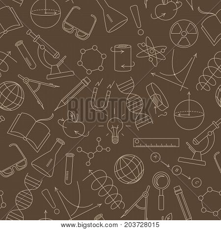 Seamless pattern on the theme of science and inventions diagrams charts and equipmentbeige simple contour icons on a brown background