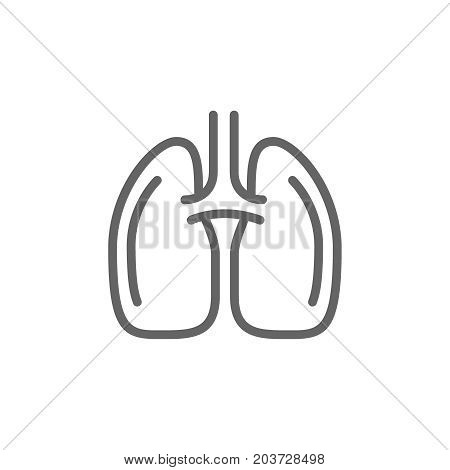 Simple lungs line icon. Symbol and sign vector illustration design. Editable Stroke. Isolated on white background