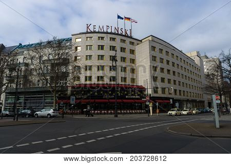 BERLIN - FEBRUARY 22 2015: Kempinski Hotel on the famous shopping street Kurfuerstendamm. Kempinski Hotels S.A. is an international hotel chain and Europe's oldest luxury hotel group.